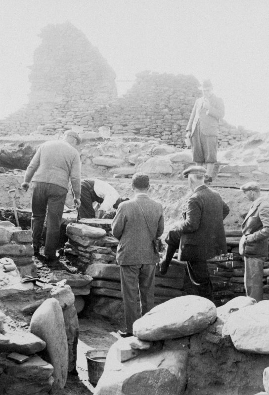 Excavation Photograph:  Site during excavation of Dwellings 1-3. Copied from a photograph album of M Curle, 1931-35. Copied 1991