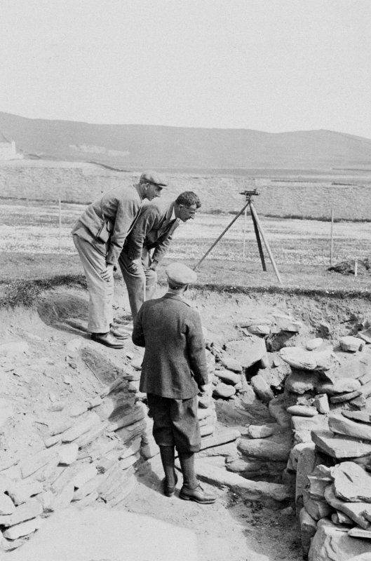 Excavation Photograph: View of Peter Moar (?), Dr Smith and A.O. Curle. Copied from a photograph album of M Curle, 1931-35.
