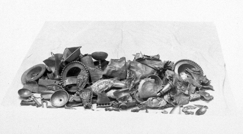 The complete Traprain treasure. From a photograph album of the Curle family, 1911-19.