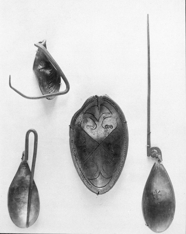 "Traprain treasure - ""Spoons"". From a photograph album of the Curle family, 1911-19."