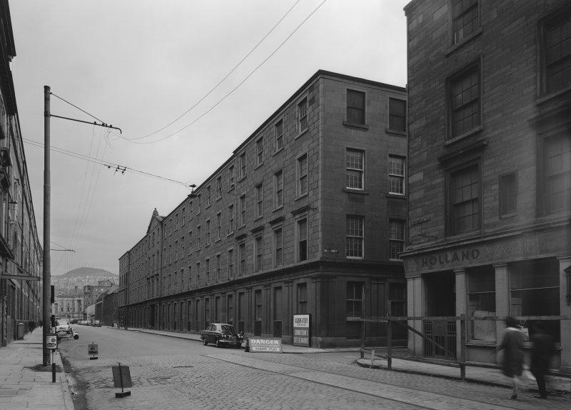 View of Ward Mills, Dundee from south showing the corner of North Lindsay Street and Willison Street prior to demolition.