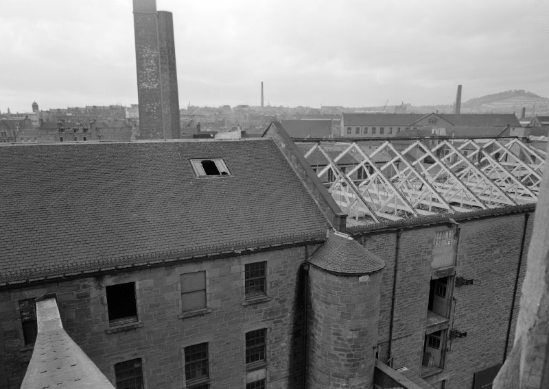 View of roof of Ward Mills, Dundee from elevated viewpoint during demolition.