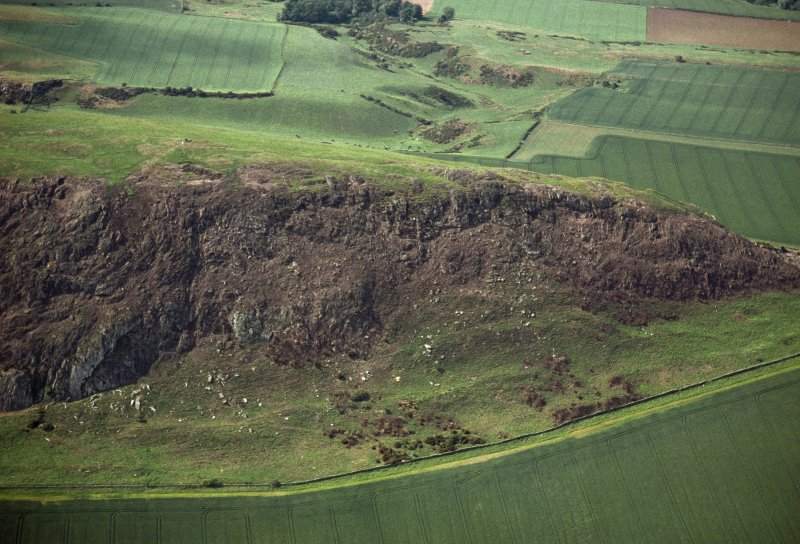 Oblique aerial view centred on the remains of the fort following the fire in 2003, taken from the SE.