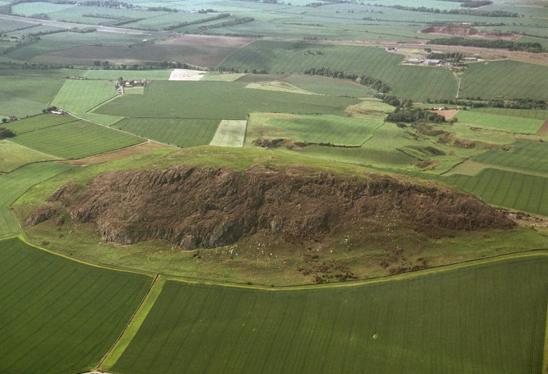 Oblique aerial view centred on the remains of the fort following the fire in 2003, taken from the ESE.