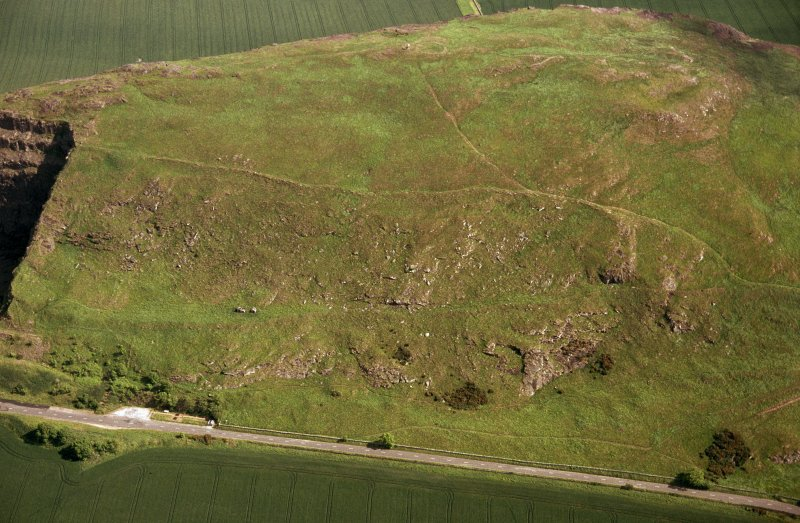 Oblique aerial view centred on the remains of the fort following the fire in 2003, taken from the NW.