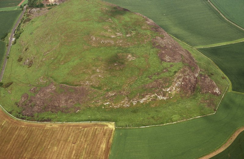 Oblique aerial view centred on the remains of the fort following the fire in 2003, taken from the W.