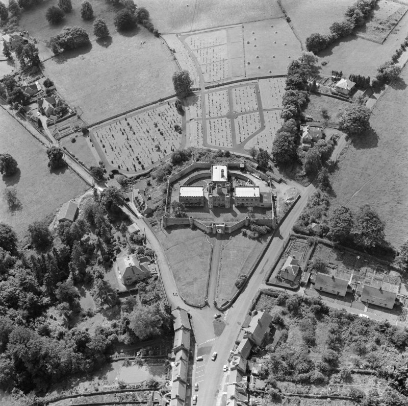 Oblique aerial view centred on Jedburgh Castle Jail.