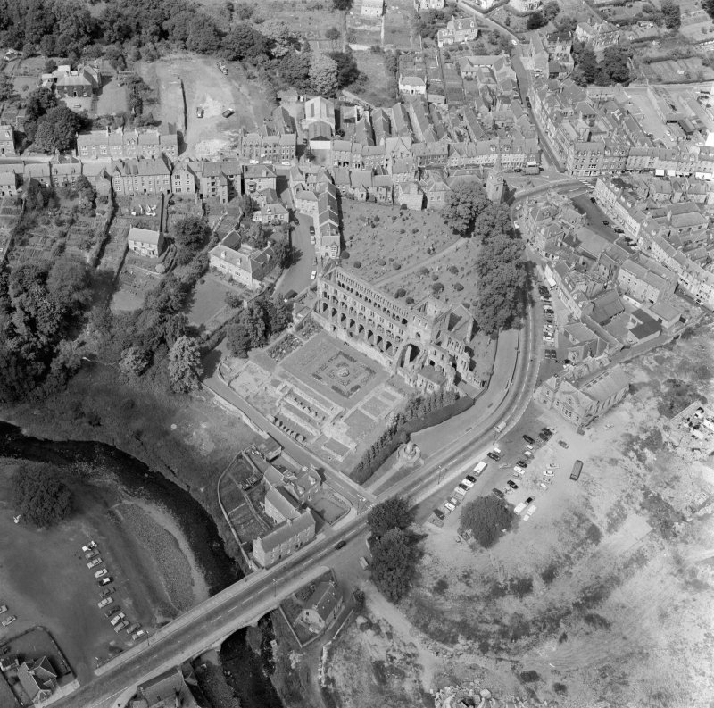 Oblique aerial view centred on Jedburgh Abbey.