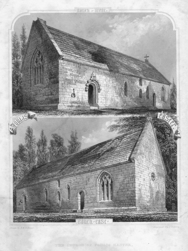 Views of Fowlis Easter Church from SW and SE.