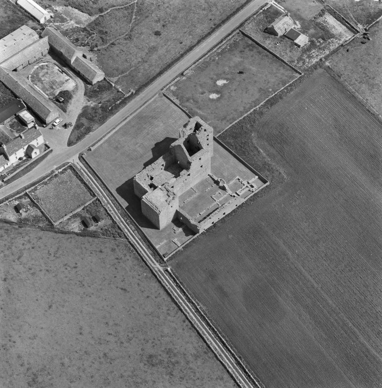 Oblique aerial view centred on the ruins of Noltland Castle, Westray.