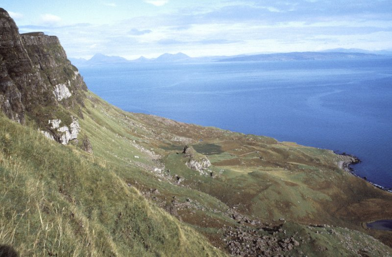 Eigg, Struidh. General view of Struidh from S with Corragan Mor fort in middleground.