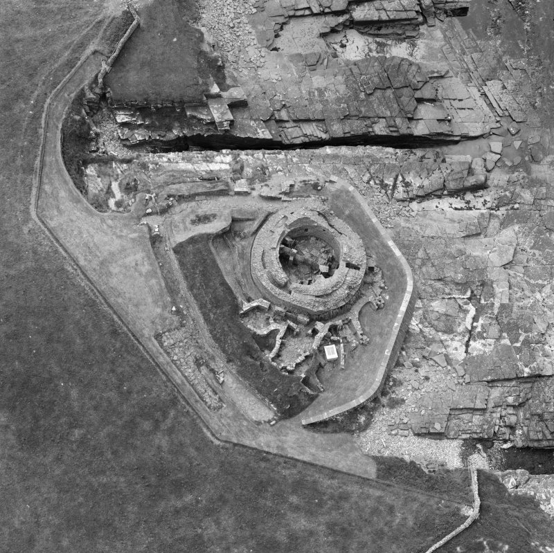 Oblique aerial view of Midhowe broch, Rousay.