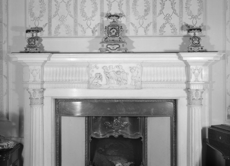 Interior view of Cessnock Castle showing fireplace in drawing room.