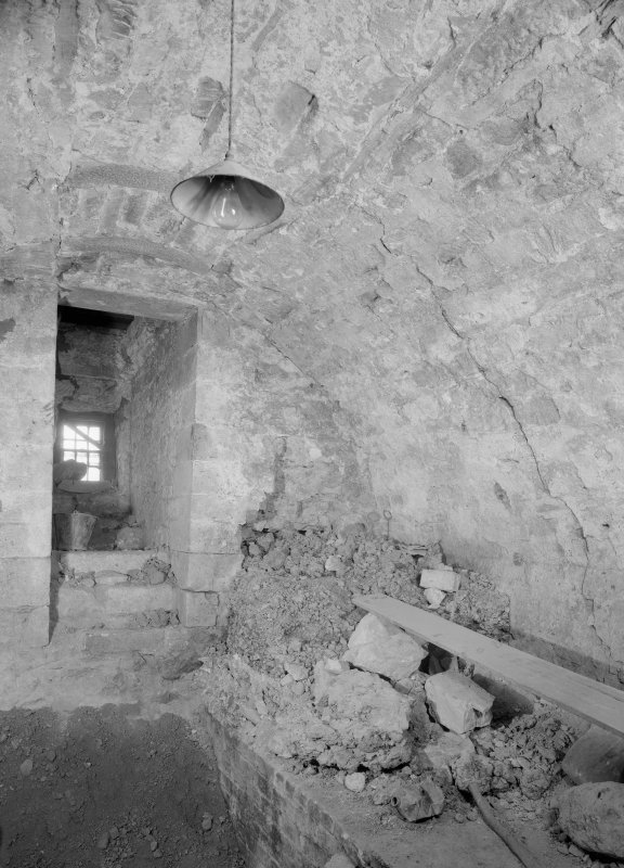 Interior view of Cessnock Castle showing vaulted basement of tower.