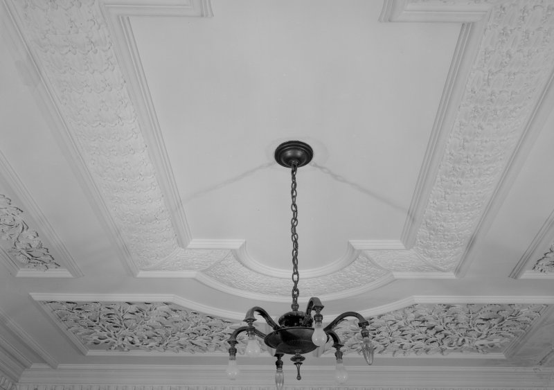 Interior view of Cessnock Castle showing ceiling in drawing room.