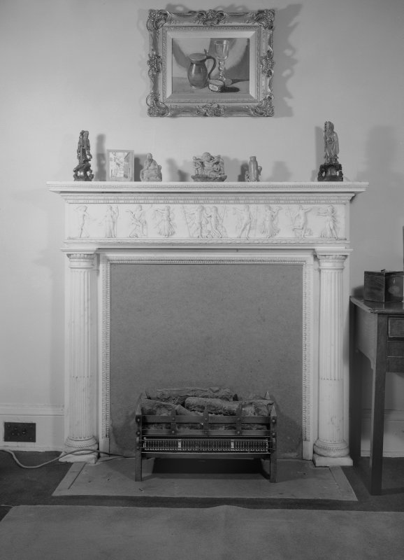 Interior view of Cessnock Castle showing fireplace in small drawing room.