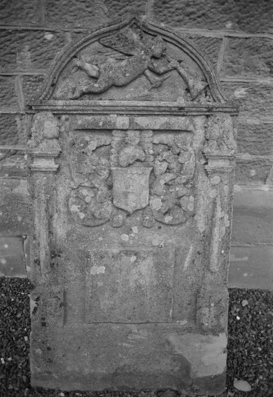View of gravestone for Elizabeth Liddle dated 1717, in the churchyard of Kilspindie Parish Church.