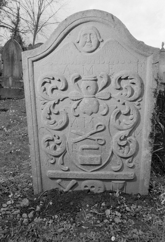 View of gravestone for George McCullie dated 1789, in the churchyard of Kilspindie Parish Church.