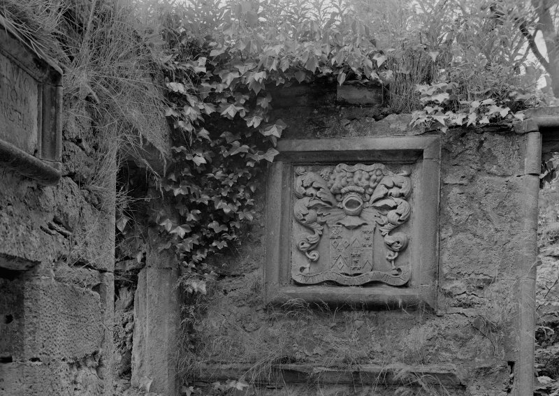 Detail of carved plaque in Woodhouselee aisle, Glencorse Old Parish Church.