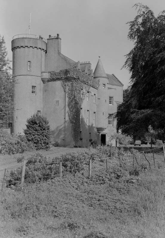View of SW elevation of Colliston Castle from NW.