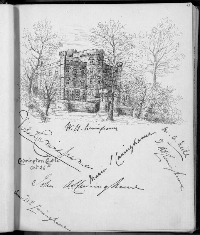 Drawing showing view of Caprington Castle from SE. Photographic copy of a page from a 'Visiting Album' kept by Miss Violet A Montgomery, 1888-1909.