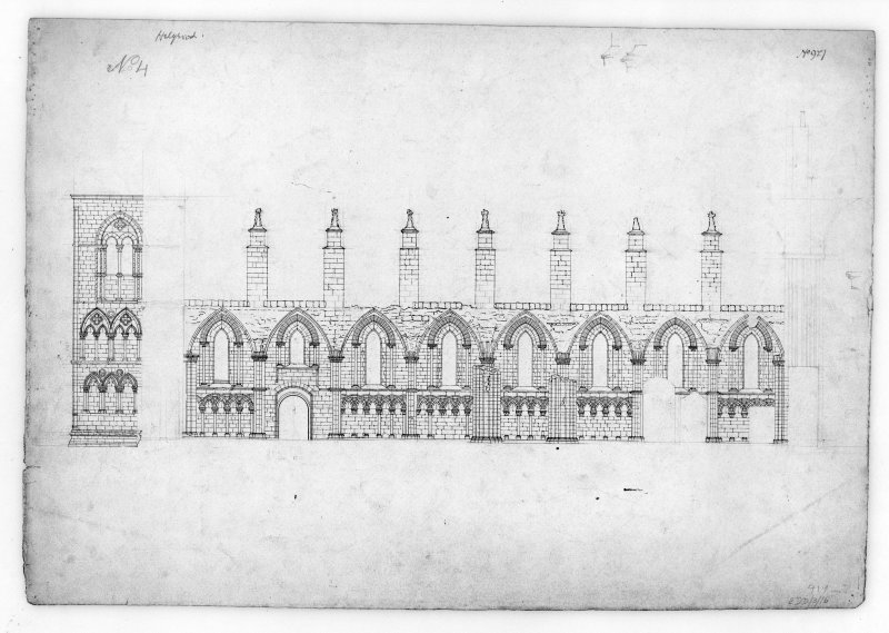 Longitudinal Section of North side of Nave of Holyrood Abbey u.s.   u.d.