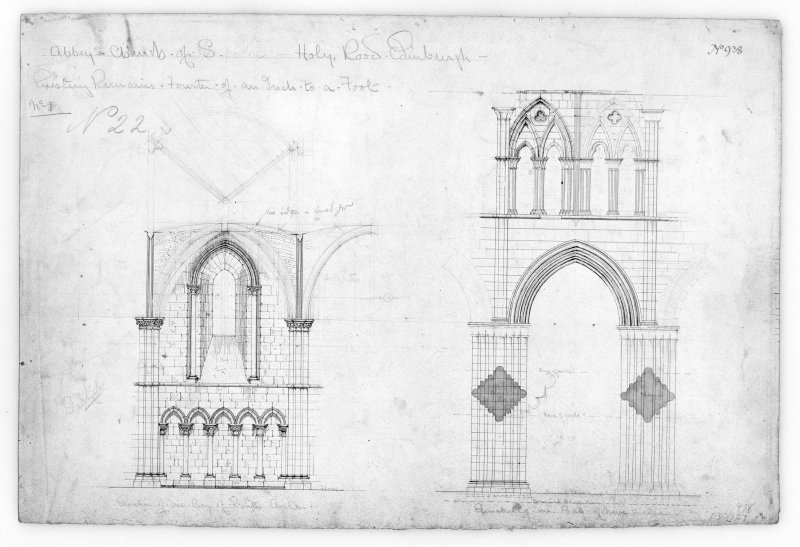 Elevations of Bays in South Aisle and Nave of Holyrood Abbey. u.s.   u.d.