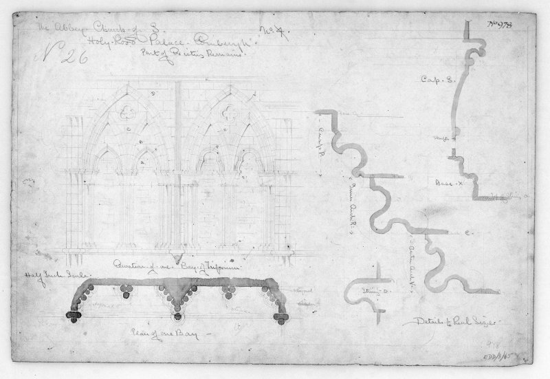 Details and Elevation of Triforium in Nave of Holyrood Abbey. u.s.  u.d.