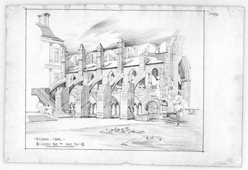 "Sketch view of Cloister Aisle of Holyrood Abbey from South East. Signed and Dated ""Wm. Beattie Brown Jnr.  May/99."""