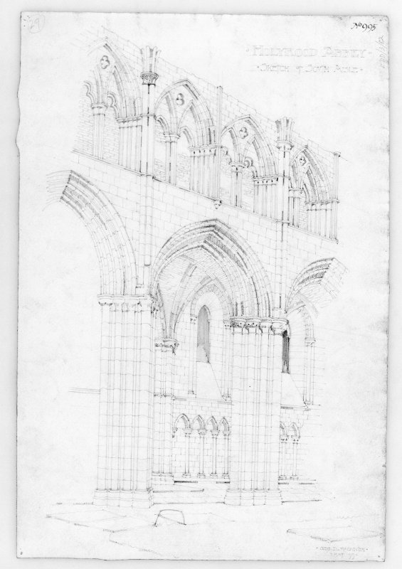 "Sketch view of interior of Nave of Holyrood Abbey. Signed and Dated ""Geo. D. Macniven.  May 99."""