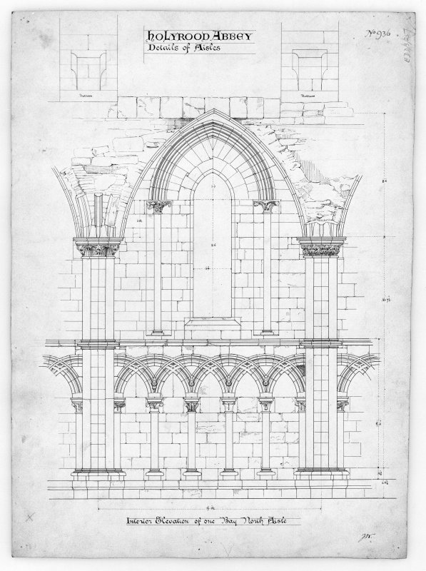 "Interior Elevation of One Bay in North Aisle of Nave in Holyrood Abbey. Signed ""J.W.""  u.d."