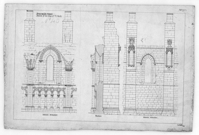 "Interior and Exterior Elevation and Section of Bay in North Aisle of Holyrood Abbey. Signed and Dated ""Jno. Watson, 1876""."