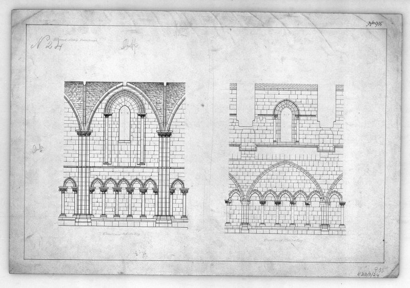 Elevations of Bay on South side of Nave of Holyrood Abbey. u.s.   u.d.