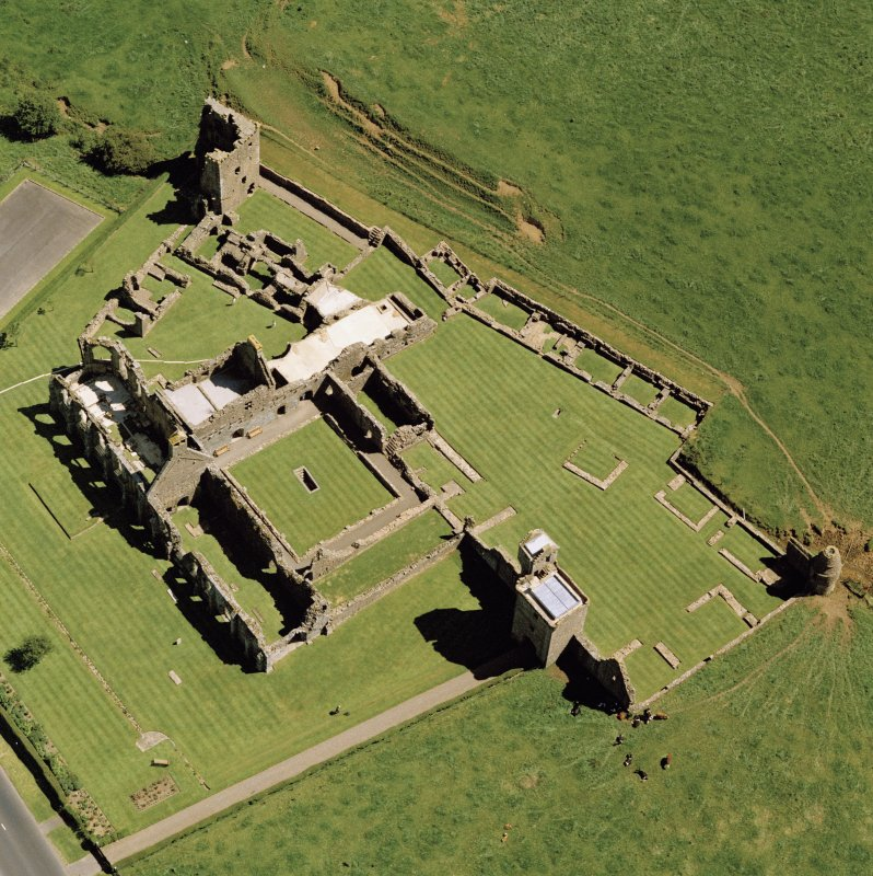Oblique aerial view of Crossraguel Abbey.