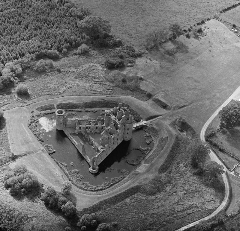 Oblique aerial view of Caerlaverock Castle.