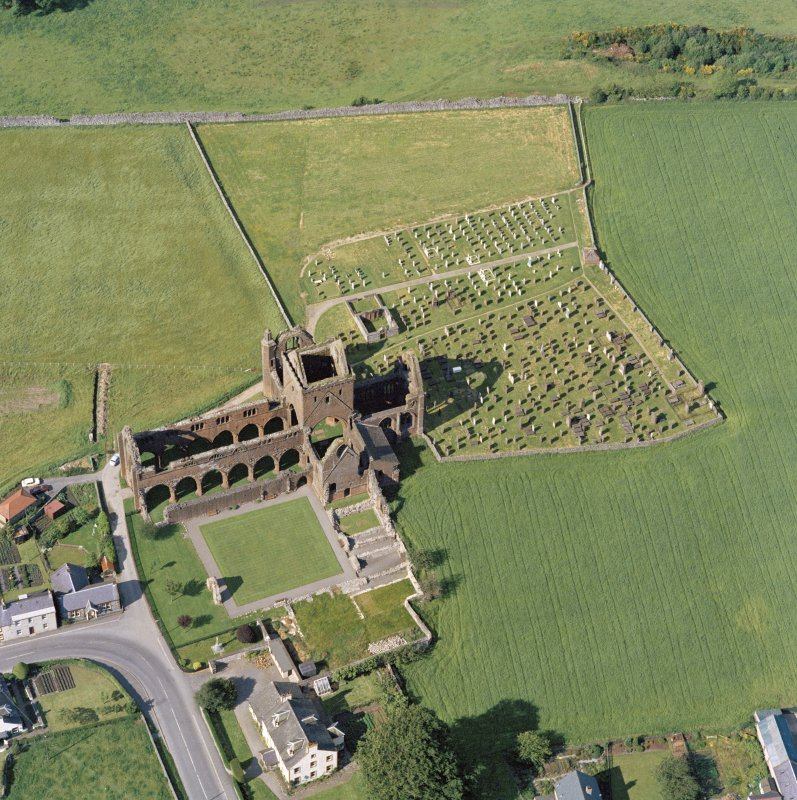 Oblique aerial view of Sweetheart Abbey.