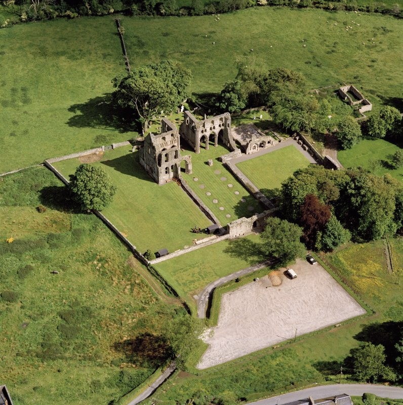 Oblique aerial view of Dundrennan Abbey.