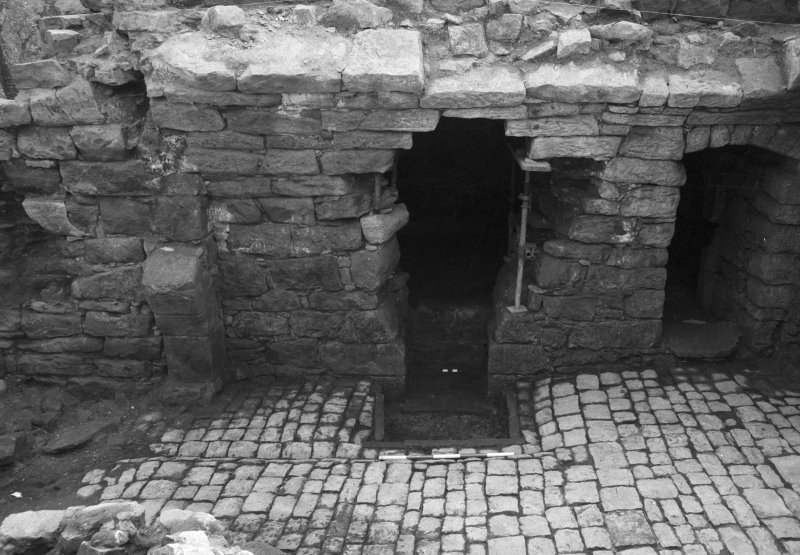 Craignethan Castle Excavations 1984 Frame 37 - Fireplace and ash-pit almost fully excavated - from north