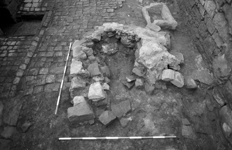 Craignethan Castle Excavations 1984 Frame 33 - Kiln and trough - from east