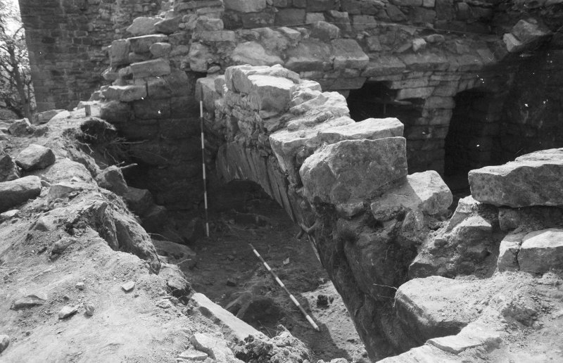 Craignethan Castle Excavations 1984 Frame 24 - Kitchen fireplace - from north
