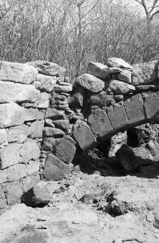 Craignethan Castle Excavations 1984 Frame 7 - North-east corner of kitchen fireplace - from west