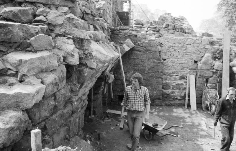 Craignethan Castle Excavations 1984 Frame 28 - Installation of temporary support to allow demolition of arch of kitchen fireplace