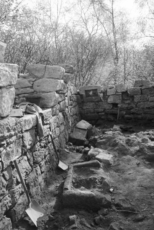 Craignethan Castle Excavations 1984 Frame 36 - North side of basement, showing kiln and trough partially revealed - from west