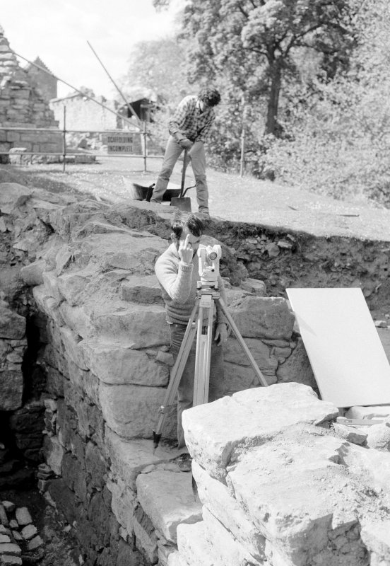Craignethan Castle Excavations 1984 Frame 11 - John Lewis in reflective mood: the joys of setting up a grid on a wall!
