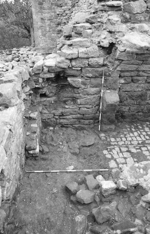 Craignethan Castle Excavations 1984 Frame 32 - The area of the fireplace after the demolition of its arched front - from north