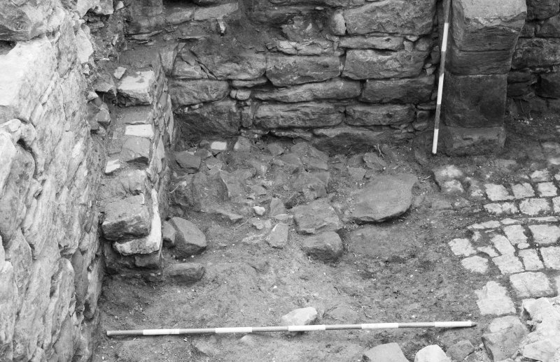 Craignethan Castle Excavations 1984 Frame 33 - The south end of the kitchen fireplace - from north