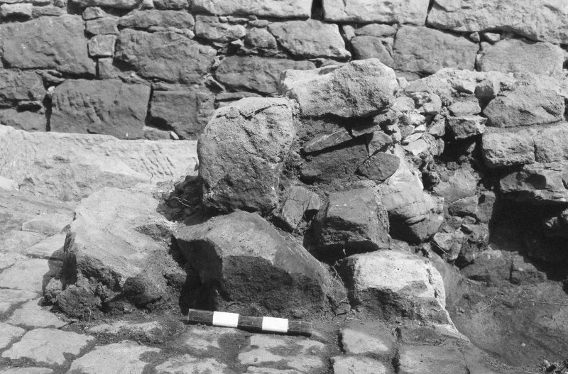 Craignethan Castle Excavations 1984 Frame 6 - West wall of kiln - from south