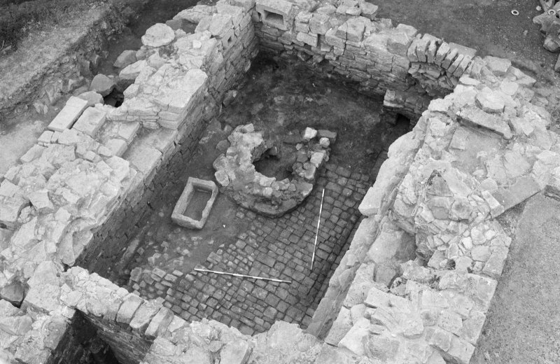 Craignethan Castle Excavations 1984 Frame 3 - The basement of the north-east tower towards the completion of excavation - from west
