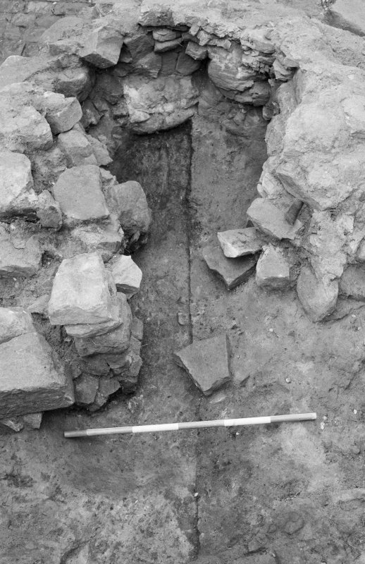 Craignethan Castle Excavations 1984 Frame 27 - Interior of kiln, showing basal deposits partially removed - from east