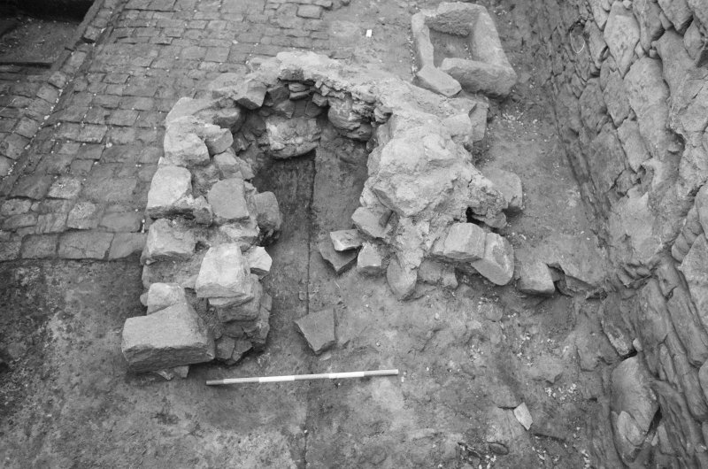 Craignethan Castle Excavations 1984 Frame 32 - Kiln, showing basal deposits partially removed - from east